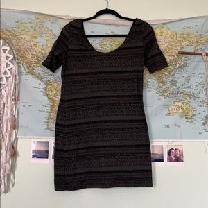 XL Xhilaration black/gray design bodycon dress